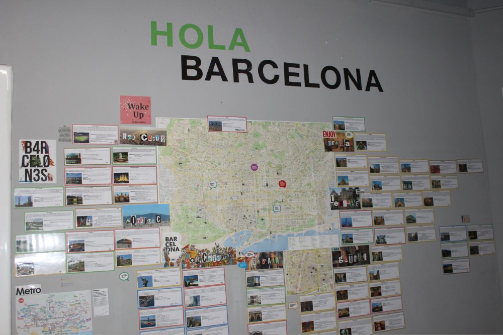 welcome map of barcelona city at sleep green hostel